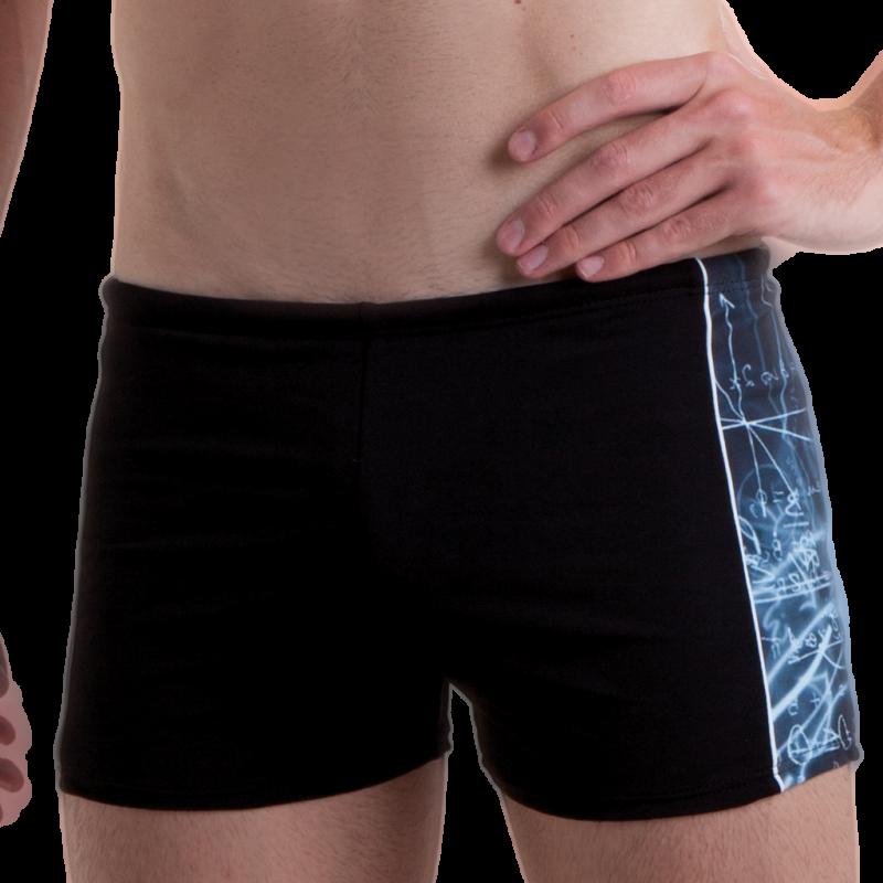 Costume uomo parigamba nero con inserti laterali stampati.