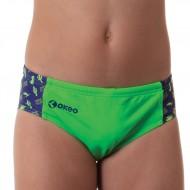 Costume slip per il nuoto da bambino verde fluo con inserti laterali. 100% foderato.