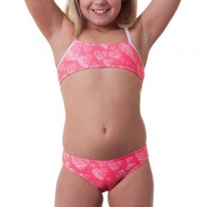 Costume due pezzi per bambina ideale per la piscina e la spiaggia. Top a fascia con spalline a contr