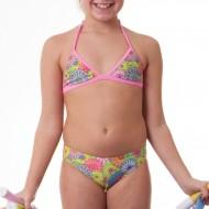 Costume due pezzi per bambina con top a triangolo, ideale per la piscina e la spiaggia. Il passante