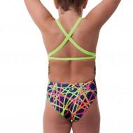 Costume intero da nuoto per bambina con spalline sottili incrociate sulla schiena e colori fluo.