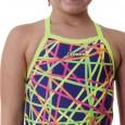 Costume intero da nuoto per bambina con palline sottili incrociate sulla schiena e colori fluo.