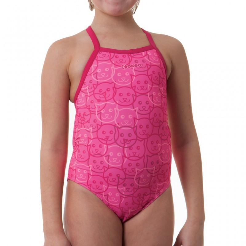 Costume intero da bambina per il nuoto nei tono del rosa con stampa gattini tono su tono.