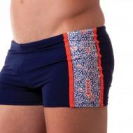 Costume short da uomo per il nuoto amatoriale. Tinta unita blu scuro con inserti laterali e grafica