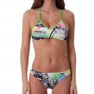 Costume donna 2 pezzi della linea Training, perfetto per nuotare e giocare a beach volley. Top e sli