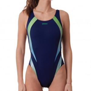 Costume donna intero per il nuoto con inserti glitter.