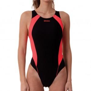 Costume donna intero basico per il nuoto con inserti rosa fluo che sottolineano la silhouette.