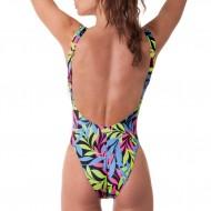 Costume intero donna olimpionico con una texture fluo. Schiena scoperta e sgambatura alta.