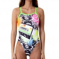 Costume intero donna per il nuoto dedicato a Okeo Academy. 100% foderato.