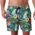 Costume da uomo modello boxer per la spiaggia con stampa tropical.