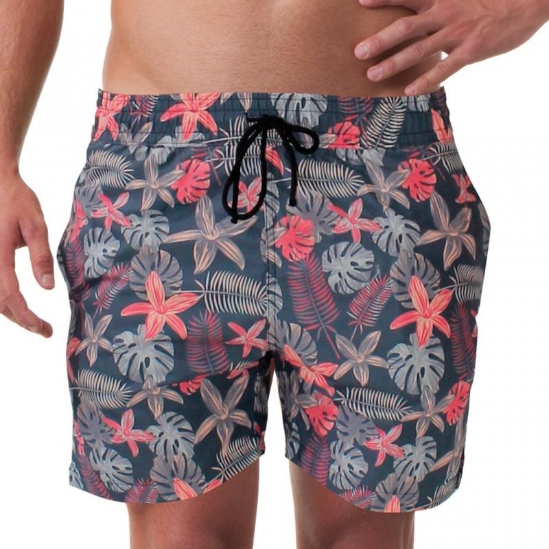 Costume da uomo modello boxer per la spiaggia con stampa tropical su fondo nero.