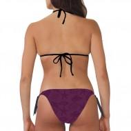 Costume bikini donna per la spiaggia con top a triangolo e slip con laccetti laterali. Imbottitura s