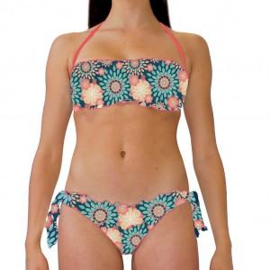 Costume bikini donna per la spiaggia con top a fascia e slip con laccetti laterali con bordatura arr