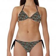 Costume bikini donna per la spiaggia con top a triangolo e slip con laccetti laterali. Resistente ai