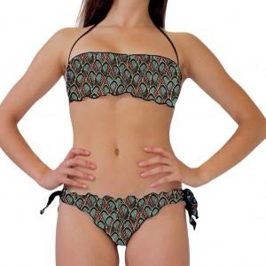 Costume bikini donna per la spiaggia con top a fascia, slip con laccetti laterali e bordature arricc