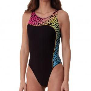 Costume intero da donna per il nuoto con fondo nero con un inserto colorato con fantasia zebrata, se
