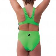 Costume intero per bambina verde brillantissimo con un inserto laterale con maggiolini colorati.