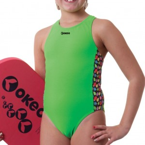 Costume nuoto intero per bambina verde brillantissimo con un inserto laterale con maggiolini colorat