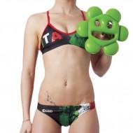 Costume 2 pezzi per il nuoto e il beach volley con grafica celebrativa del tricolore italiano.