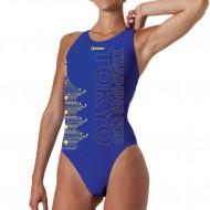 Costume intero da donna con grafica dedicata alle Olimpiadi di Tokyo 2020.