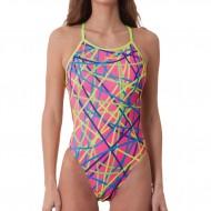 Costume intero donna per il nuoto con spalline sottili che si incrociano sulla schiena scoperta e si