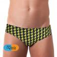Costume slip da uomo per il nuoto e il mare con fondo blu e simpatica texture paperelle gialle. Dell