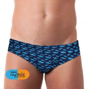 Costume slip da uomo per la piscina e il mare con fondo blu e barchette in stile origami