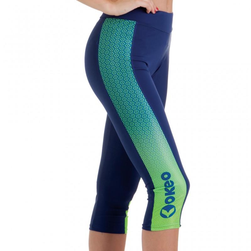 Leggings corti in cotone elasticizzato tinta unita blu scuro con bande laterali stampate.