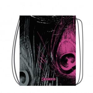 Sacca-zainetto in morbido poliestere con stampa allover, utile per la palestra e il tempo libero.