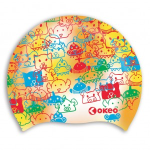 Cuffia nuoto per bambini in morbido silicone con grafica animaletti.