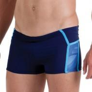Costume da nuoto parigamba per uomo tinta unita blu scuro con inserti stampati.