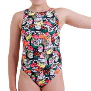 Costume da bagno intero da nuoto per bambina con fantasia sushi.