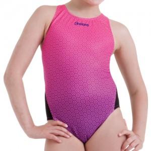 Costume intero bambina per la scuola nuoto. Bicolor con fronte stampato e retro tinta unita nero.