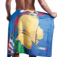 Costume slip da uomo con grafica tricolore italiano, abbinabile al telo in microfibra Okeo.