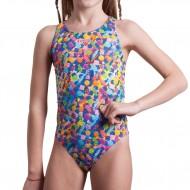 Caramelle, quante ne vogliamo! Tutte stampate sul costume intero da bambina per i corsi nuoti in pis