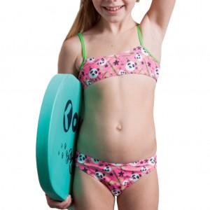 Costume due pezzi per bambina, da usare in piscina o al mare, ha un top a fascia con spalline verde