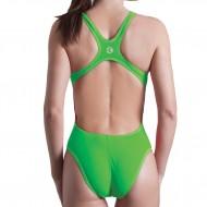 Costume intero da donna tinta unita verde fluo, 100% foderato.