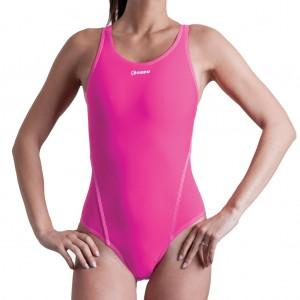Costume intero da donna tinta unita rosa fluo, 100% foderato