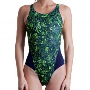 Costume intero da bagno per donna con spalline larghe cucite sulla schiena. Fantasia paisley verde f