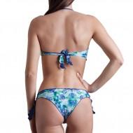 Costume donna bikini con top a fascia con imbottitura estraibile. Bordature arricciate. Slip con lac