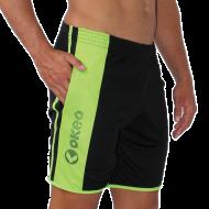 Bermuda unisex con tasche e banda laterale verde fluo con logo Okeo.