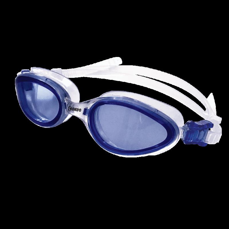 Occhialini nuoto con lente estesa e dettagli colorati a contrasto.