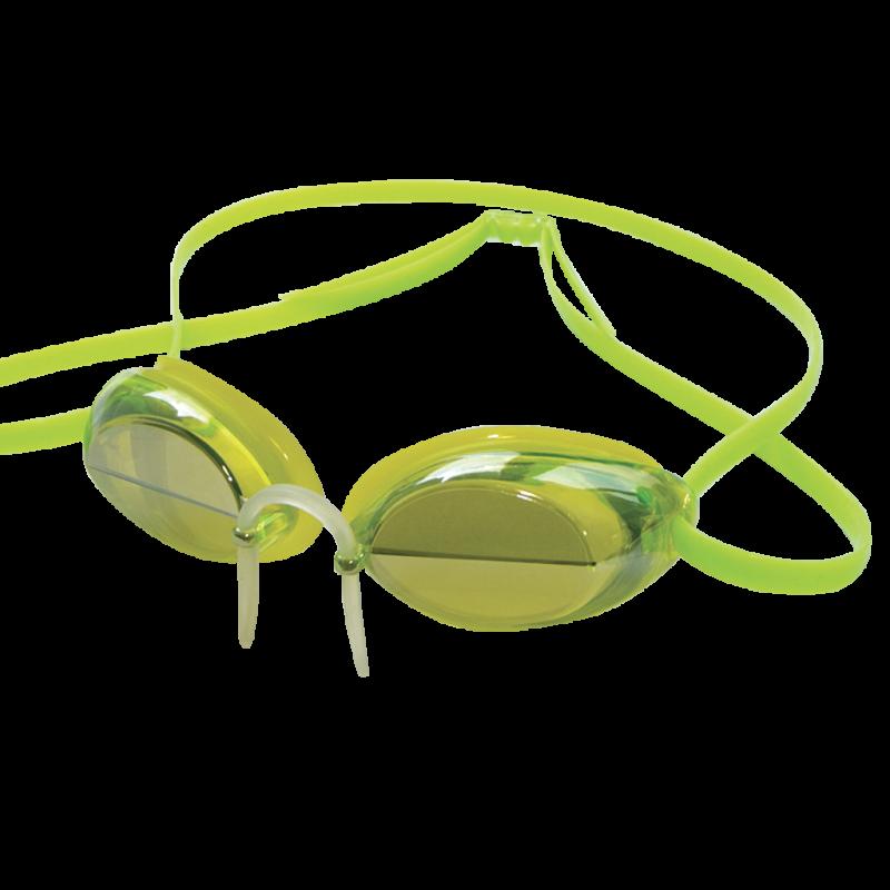 Occhialini specchiati per atleti con lente a cuneo bisettoriale.
