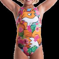 Costume intero da bambina per la scuola nuoto. <br /><br />