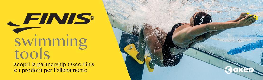 Scopri la partnership Okeo Finis per i prodotti per l'allenamento in piscina
